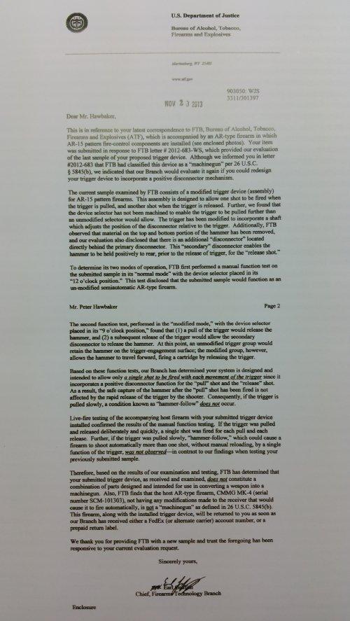Echo AR-II Trigger BATF Letter